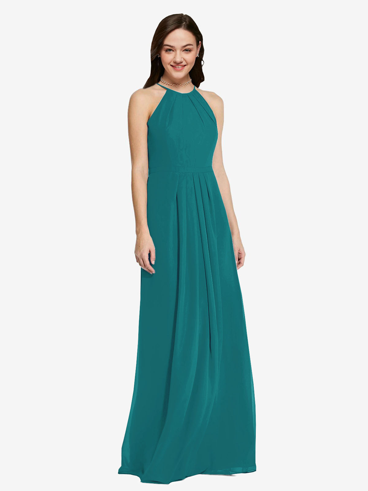 Long Sheath High Neck Halter Sleeveless Hunter Chiffon Bridesmaid Dress Koloti
