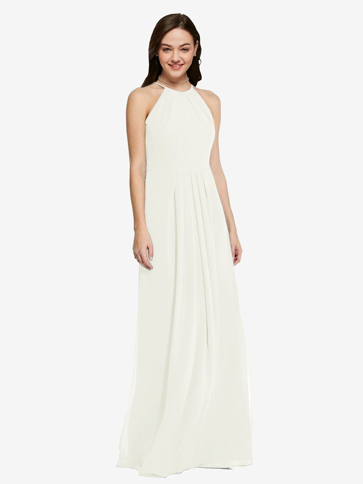 Long Sheath High Neck Halter Sleeveless Ivory Chiffon Bridesmaid Dress Koloti