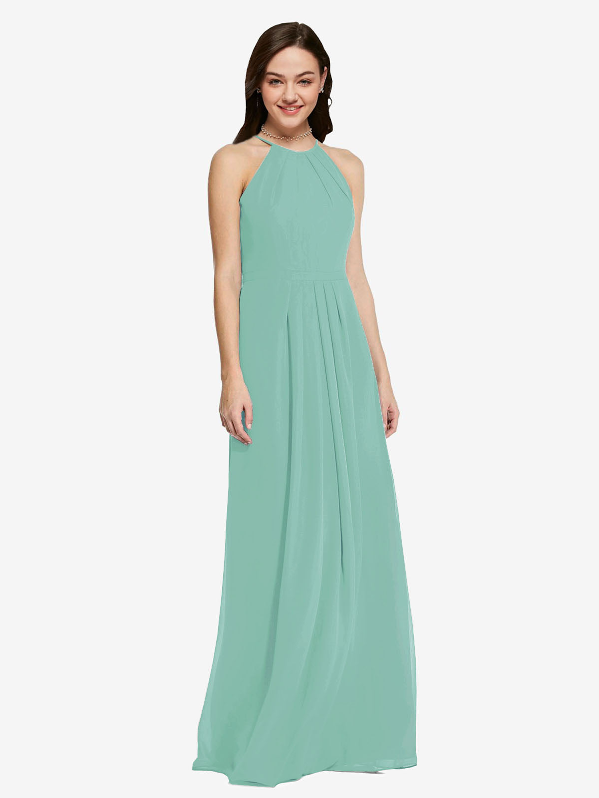 Long Sheath High Neck Halter Sleeveless Jade Chiffon Bridesmaid Dress Koloti