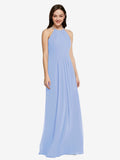 Long Sheath High Neck Halter Sleeveless Lavender Chiffon Bridesmaid Dress Koloti