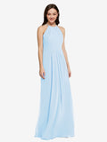Long Sheath High Neck Halter Sleeveless Light Sky Blue Chiffon Bridesmaid Dress Koloti