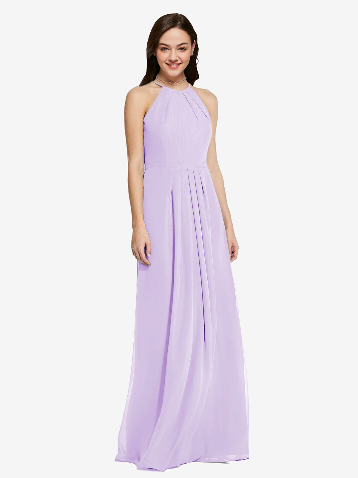 Long Sheath High Neck Halter Sleeveless Lilac Chiffon Bridesmaid Dress Koloti