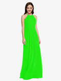 Long Sheath High Neck Halter Sleeveless Lime Green Chiffon Bridesmaid Dress Koloti