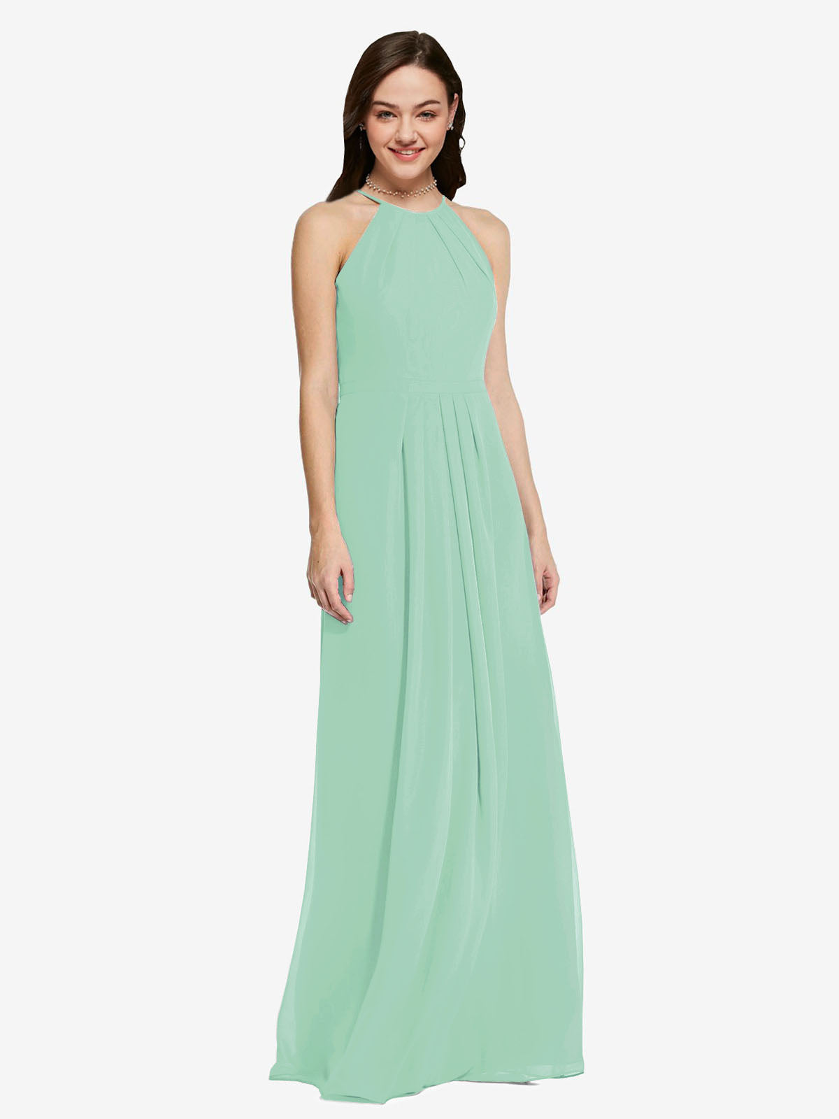 Long Sheath High Neck Halter Sleeveless Mint Green Chiffon Bridesmaid Dress Koloti