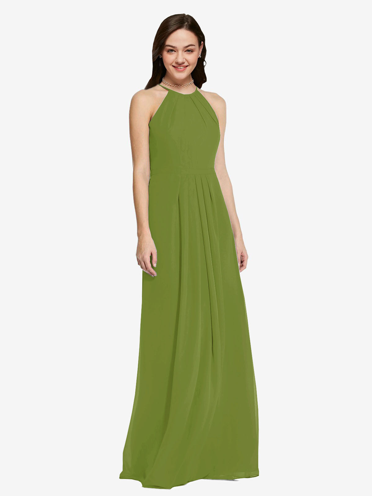 Long Sheath High Neck Halter Sleeveless Olive Green Chiffon Bridesmaid Dress Koloti