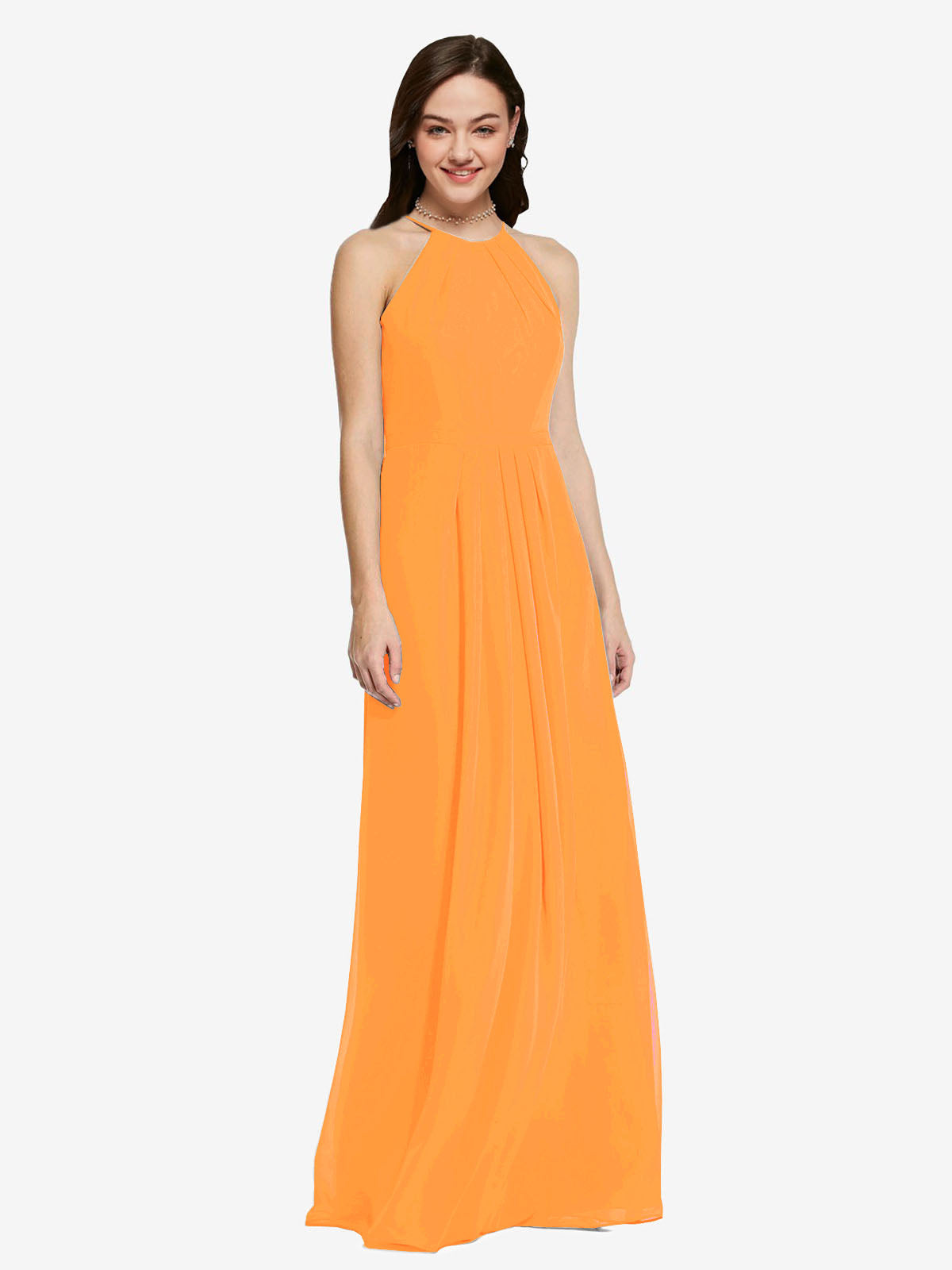 Long Sheath High Neck Halter Sleeveless Orange Chiffon Bridesmaid Dress Koloti
