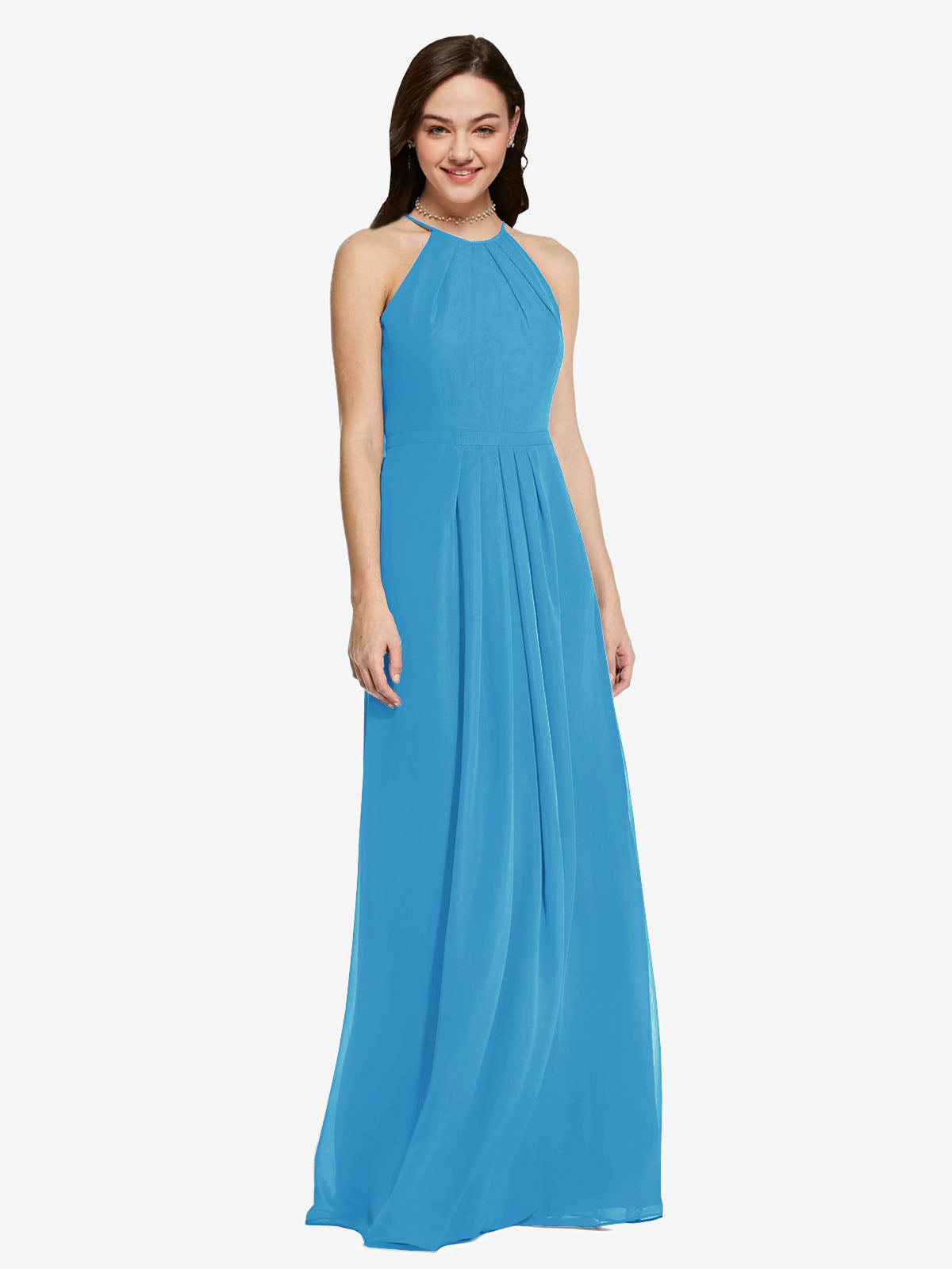 Long Sheath High Neck Halter Sleeveless Peacock Blue Chiffon Bridesmaid Dress Koloti