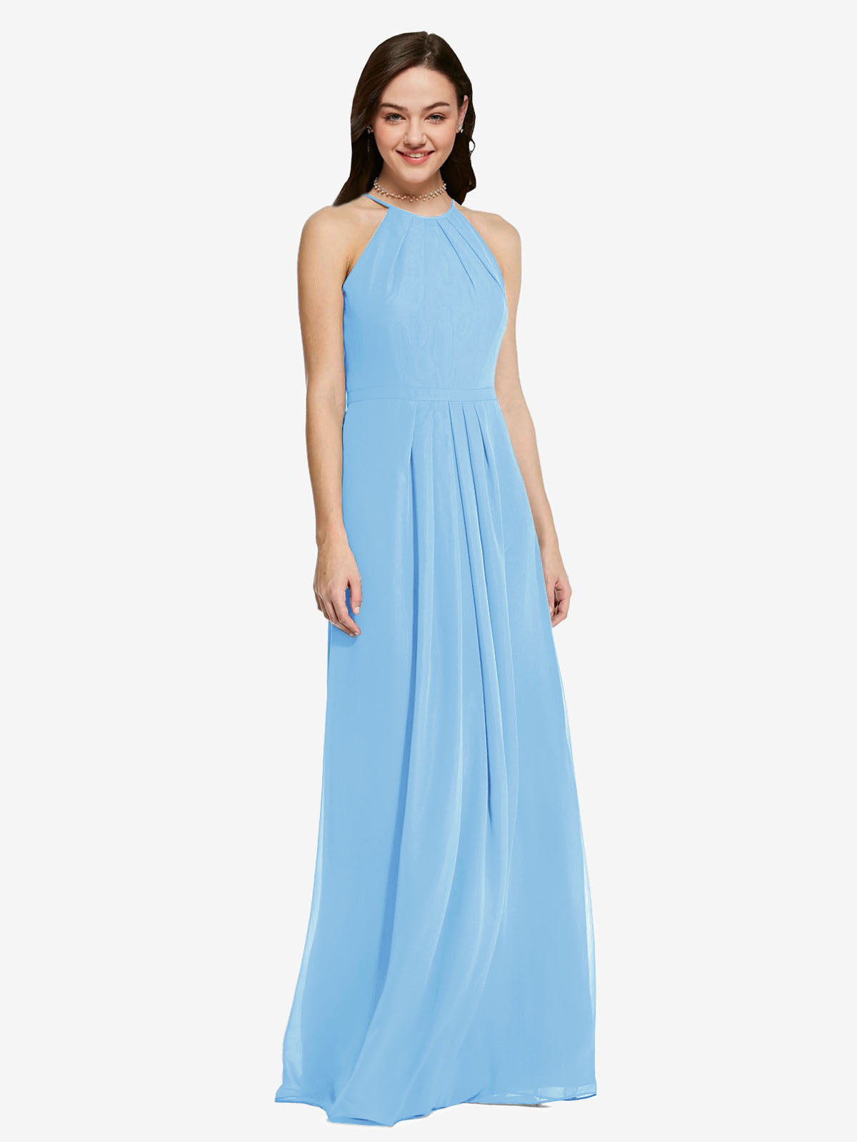 Long Sheath High Neck Halter Sleeveless Periwinkle Chiffon Bridesmaid Dress Koloti