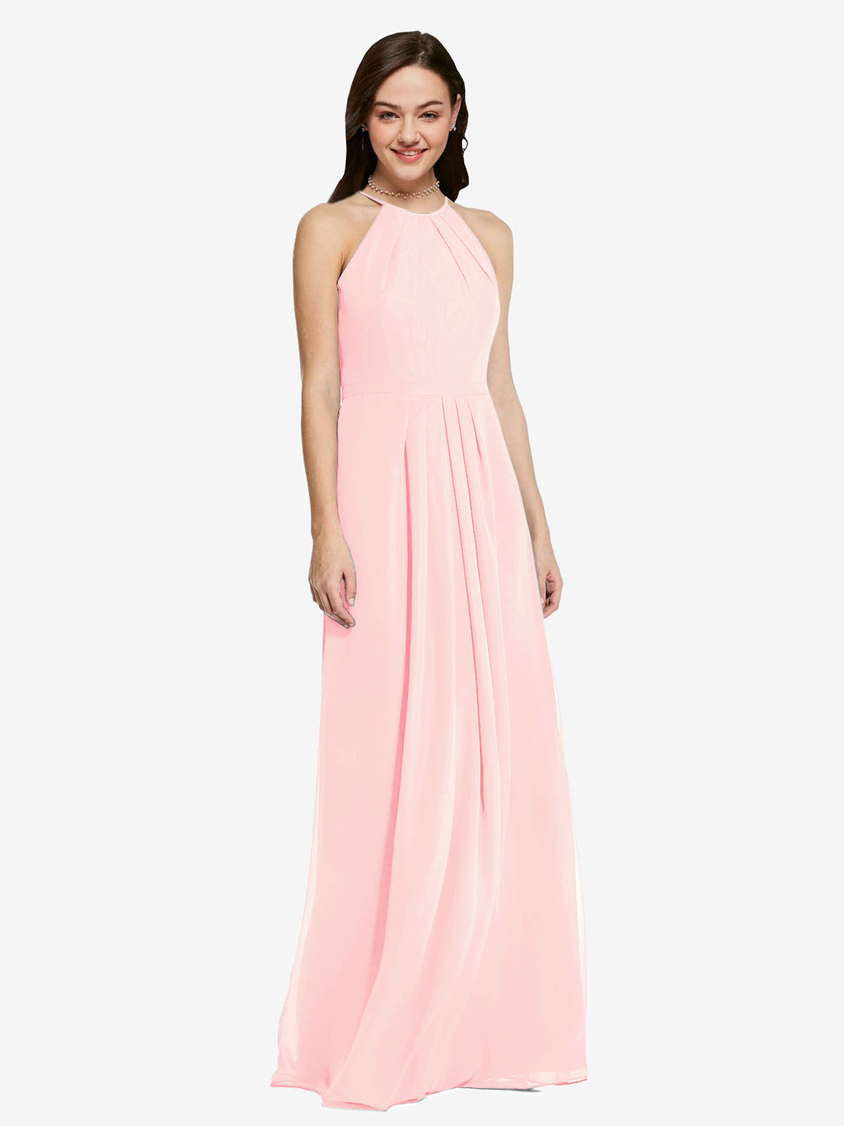 Long Sheath High Neck Halter Sleeveless Pink Chiffon Bridesmaid Dress Koloti