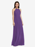 Long Sheath High Neck Halter Sleeveless Plum Purple Chiffon Bridesmaid Dress Koloti