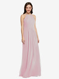 Long Sheath High Neck Halter Sleeveless Primrose Chiffon Bridesmaid Dress Koloti