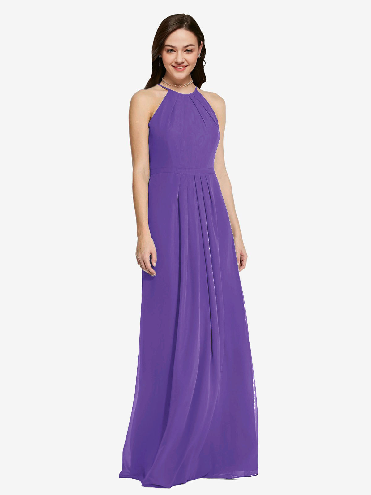 Long Sheath High Neck Halter Sleeveless Purple Chiffon Bridesmaid Dress Koloti