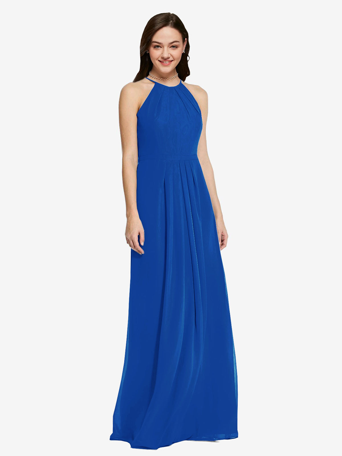 Long Sheath High Neck Halter Sleeveless Royal Blue Chiffon Bridesmaid Dress Koloti