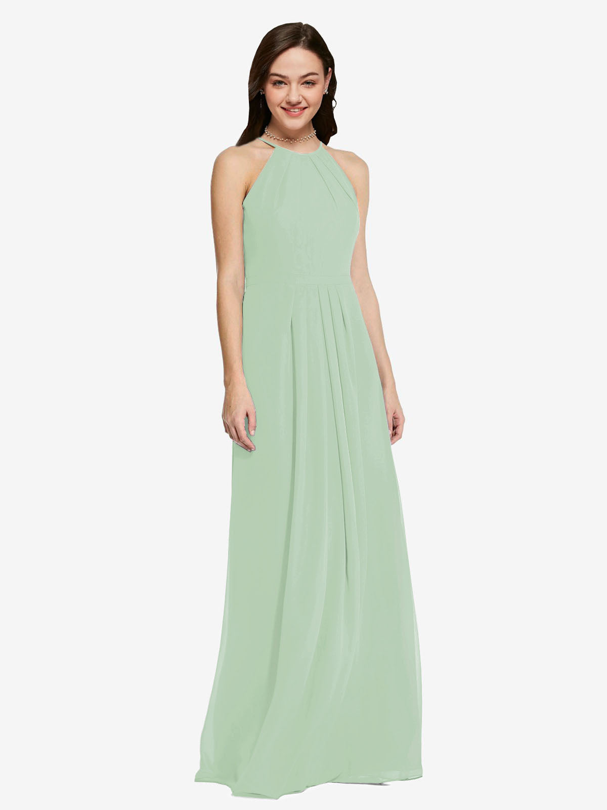 Long Sheath High Neck Halter Sleeveless Sage Chiffon Bridesmaid Dress Koloti