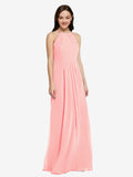 Long Sheath High Neck Halter Sleeveless Salmon Chiffon Bridesmaid Dress Koloti