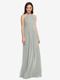 Long Sheath High Neck Halter Sleeveless Silver Chiffon Bridesmaid Dress Koloti