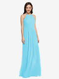 Long Sheath High Neck Halter Sleeveless Sky Blue Chiffon Bridesmaid Dress Koloti