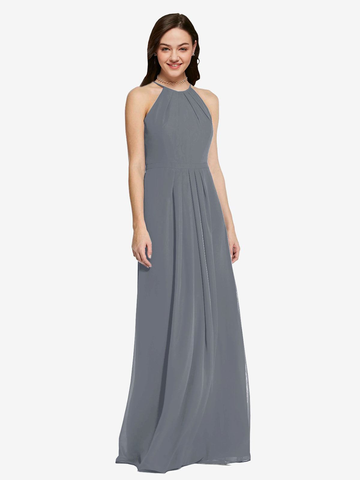 Long Sheath High Neck Halter Sleeveless Slate Grey Chiffon Bridesmaid Dress Koloti