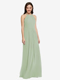 Long Sheath High Neck Halter Sleeveless Smoke Green Chiffon Bridesmaid Dress Koloti