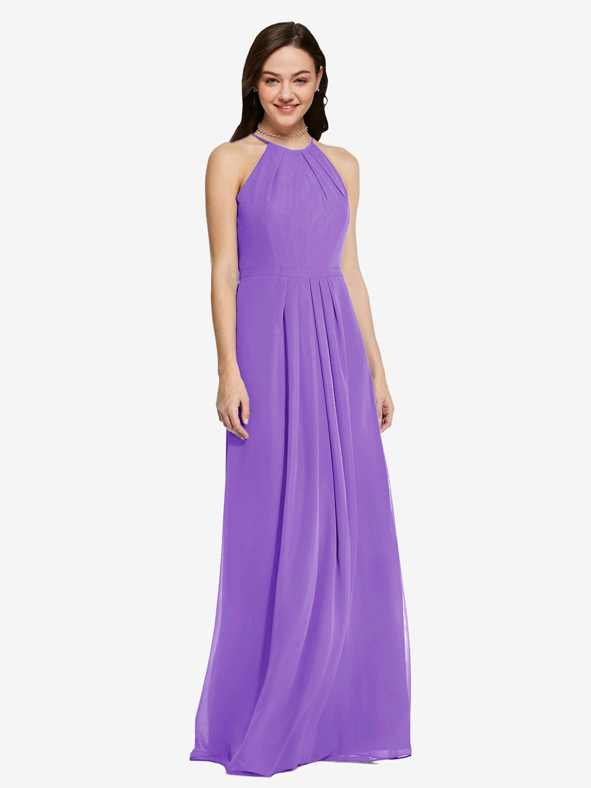 Long Sheath High Neck Halter Sleeveless Tahiti Chiffon Bridesmaid Dress Koloti