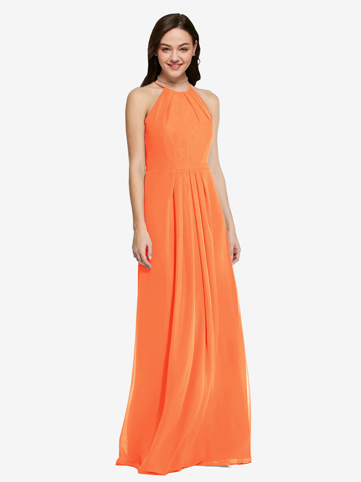 Long Sheath High Neck Halter Sleeveless Tangerine Tango Chiffon Bridesmaid Dress Koloti
