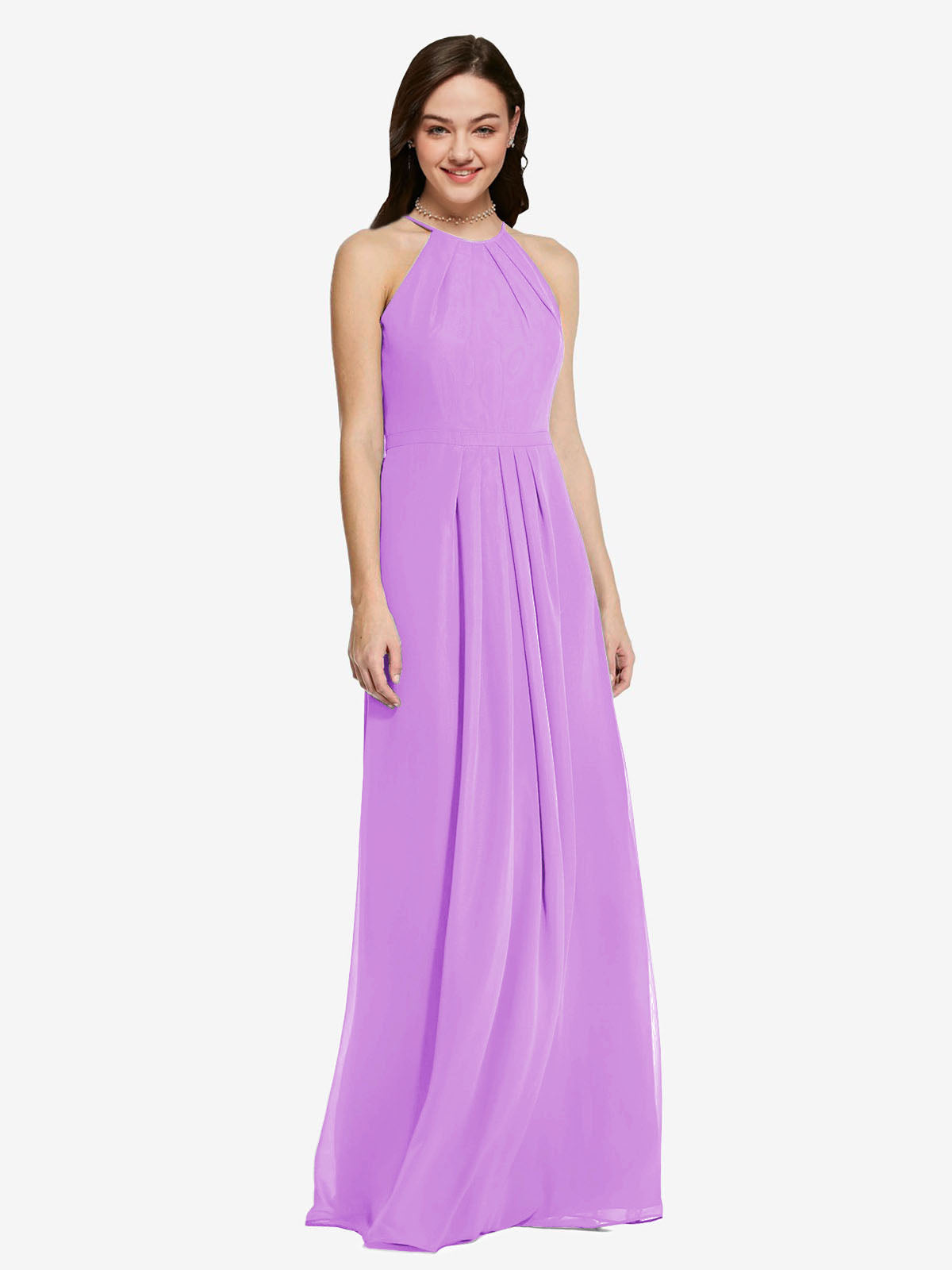Long Sheath High Neck Halter Sleeveless Violet Chiffon Bridesmaid Dress Koloti
