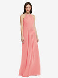 Long Sheath High Neck Halter Sleeveless Watermelon Chiffon Bridesmaid Dress Koloti