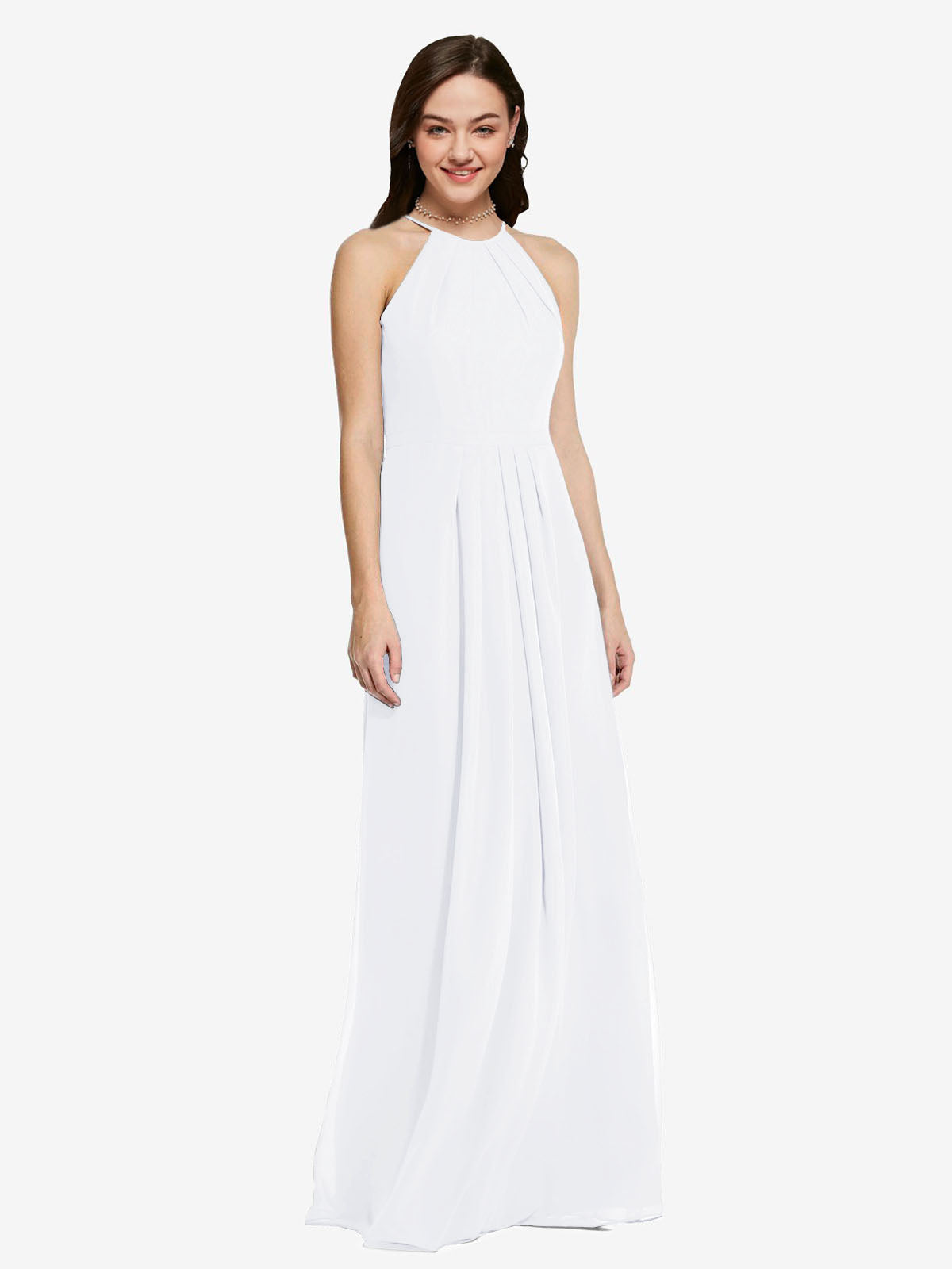 Long Sheath High Neck Halter Sleeveless White Chiffon Bridesmaid Dress Koloti