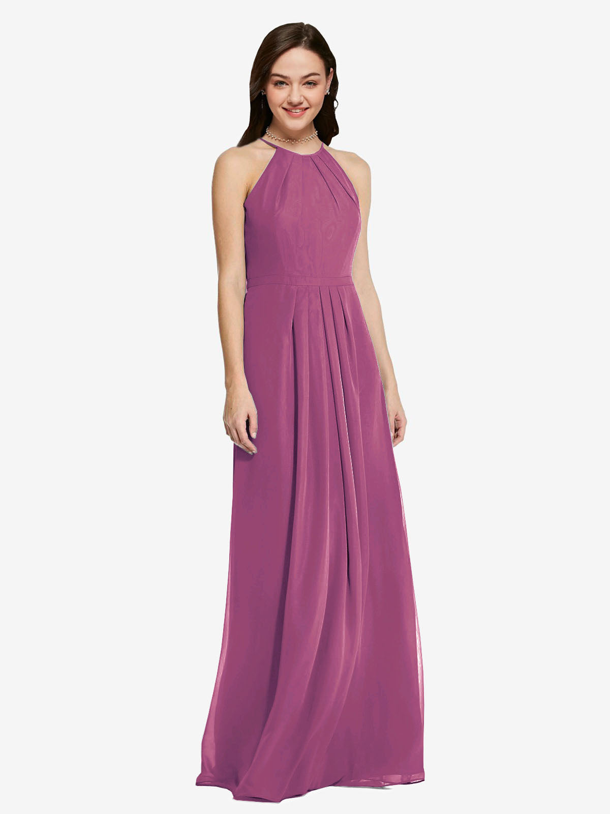 Long Sheath High Neck Halter Sleeveless Wild Berry Chiffon Bridesmaid Dress Koloti
