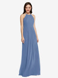 Long Sheath High Neck Halter Sleeveless Windsor Blue Chiffon Bridesmaid Dress Koloti
