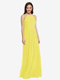 Long Sheath High Neck Halter Sleeveless Yellow Chiffon Bridesmaid Dress Koloti