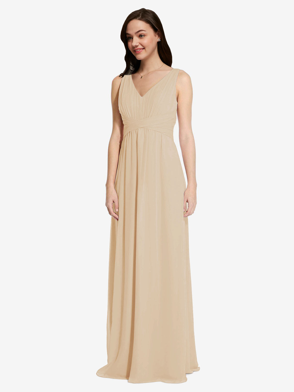 Long A-Line V-Neck Sleeveless Champagne Chiffon Bridesmaid Dress Auckland
