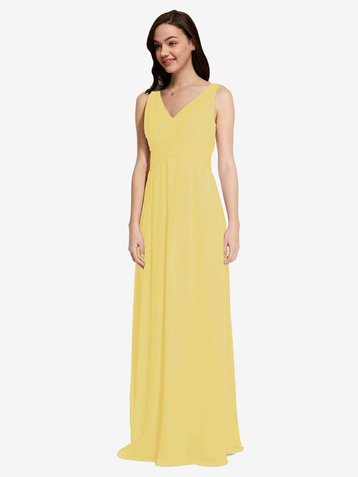 Long A-Line V-Neck Sleeveless Daffodil Chiffon Bridesmaid Dress Auckland