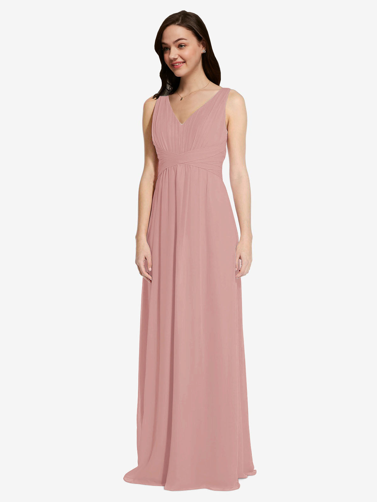 Long A-Line V-Neck Sleeveless Dusty Pink Chiffon Bridesmaid Dress Auckland