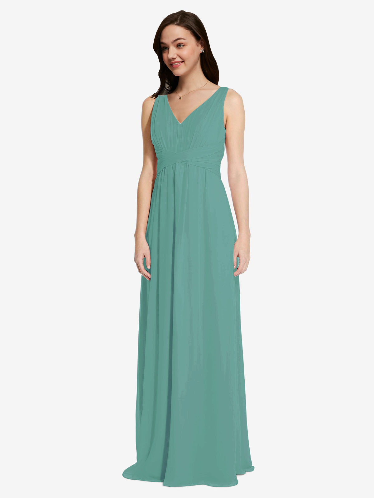 Long A-Line V-Neck Sleeveless Icelandic Silver Chiffon Bridesmaid Dress Auckland