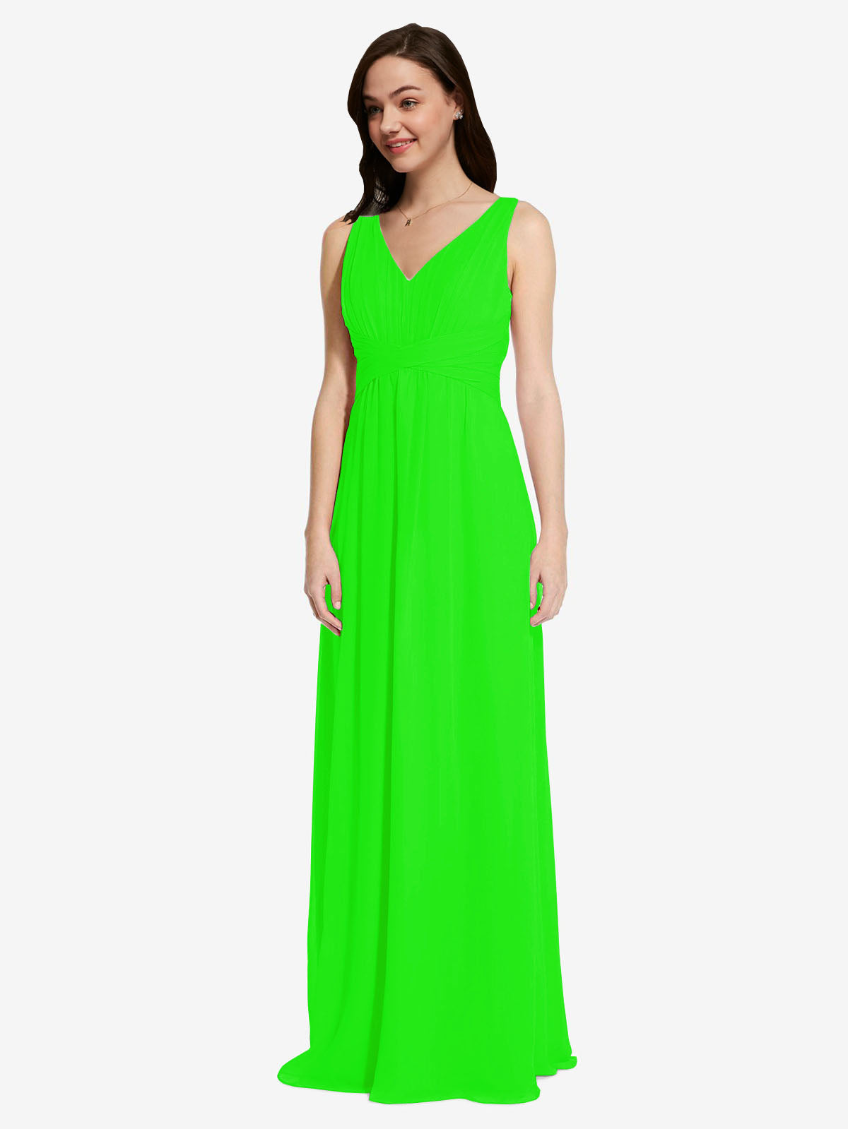 Long A-Line V-Neck Sleeveless Lime Green Chiffon Bridesmaid Dress Auckland