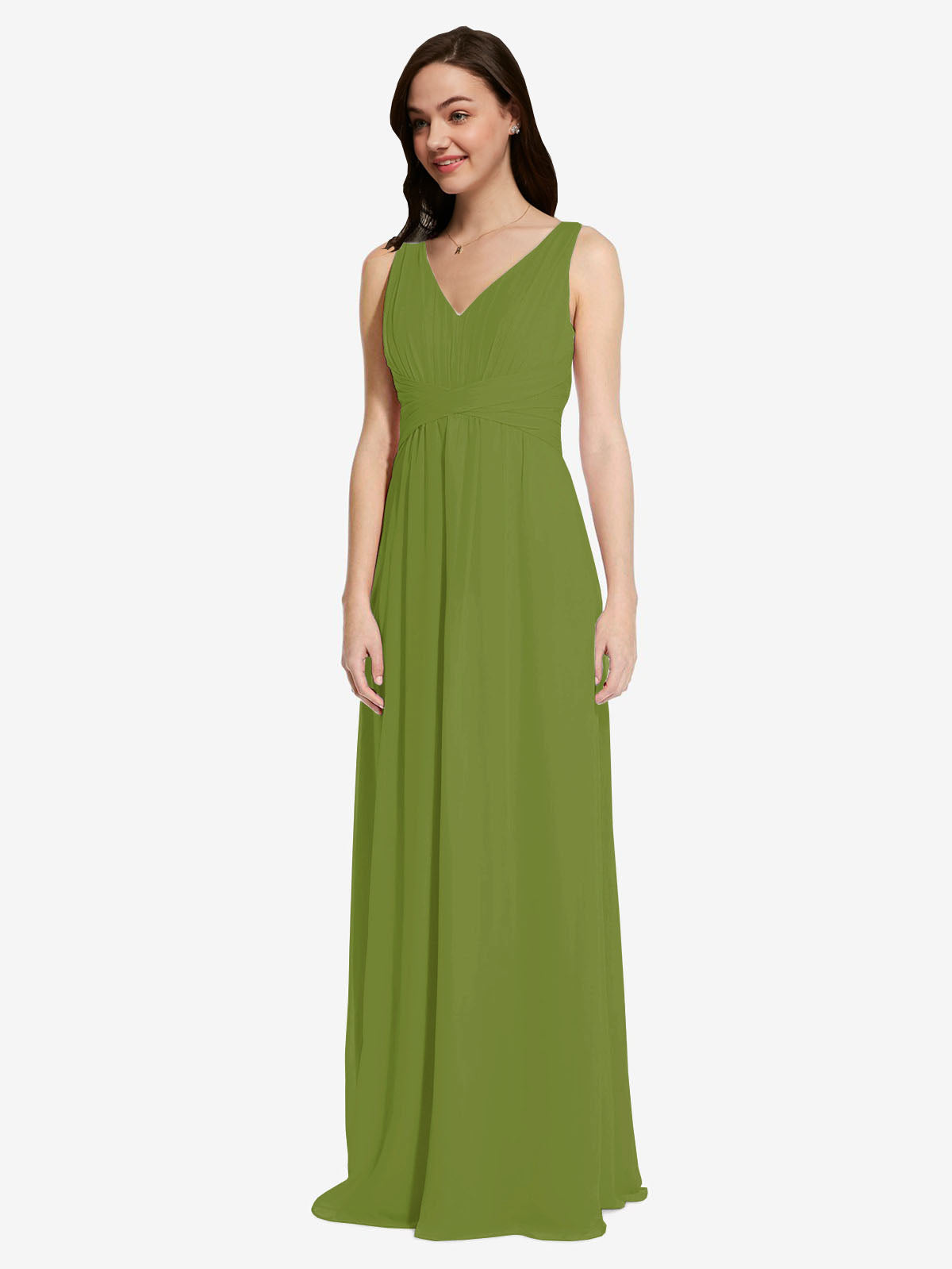 Long A-Line V-Neck Sleeveless Olive Green Chiffon Bridesmaid Dress Auckland