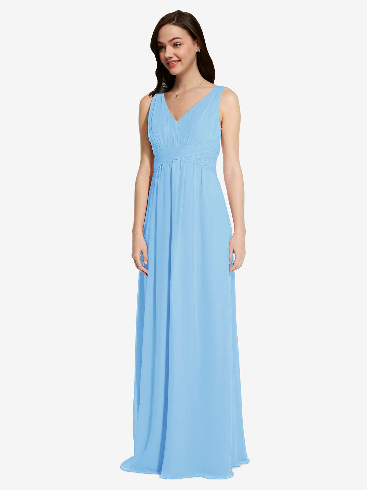 Long A-Line V-Neck Sleeveless Periwinkle Chiffon Bridesmaid Dress Auckland
