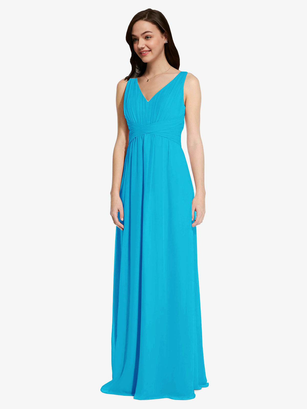 Long A-Line V-Neck Sleeveless Turquoise Chiffon Bridesmaid Dress Auckland