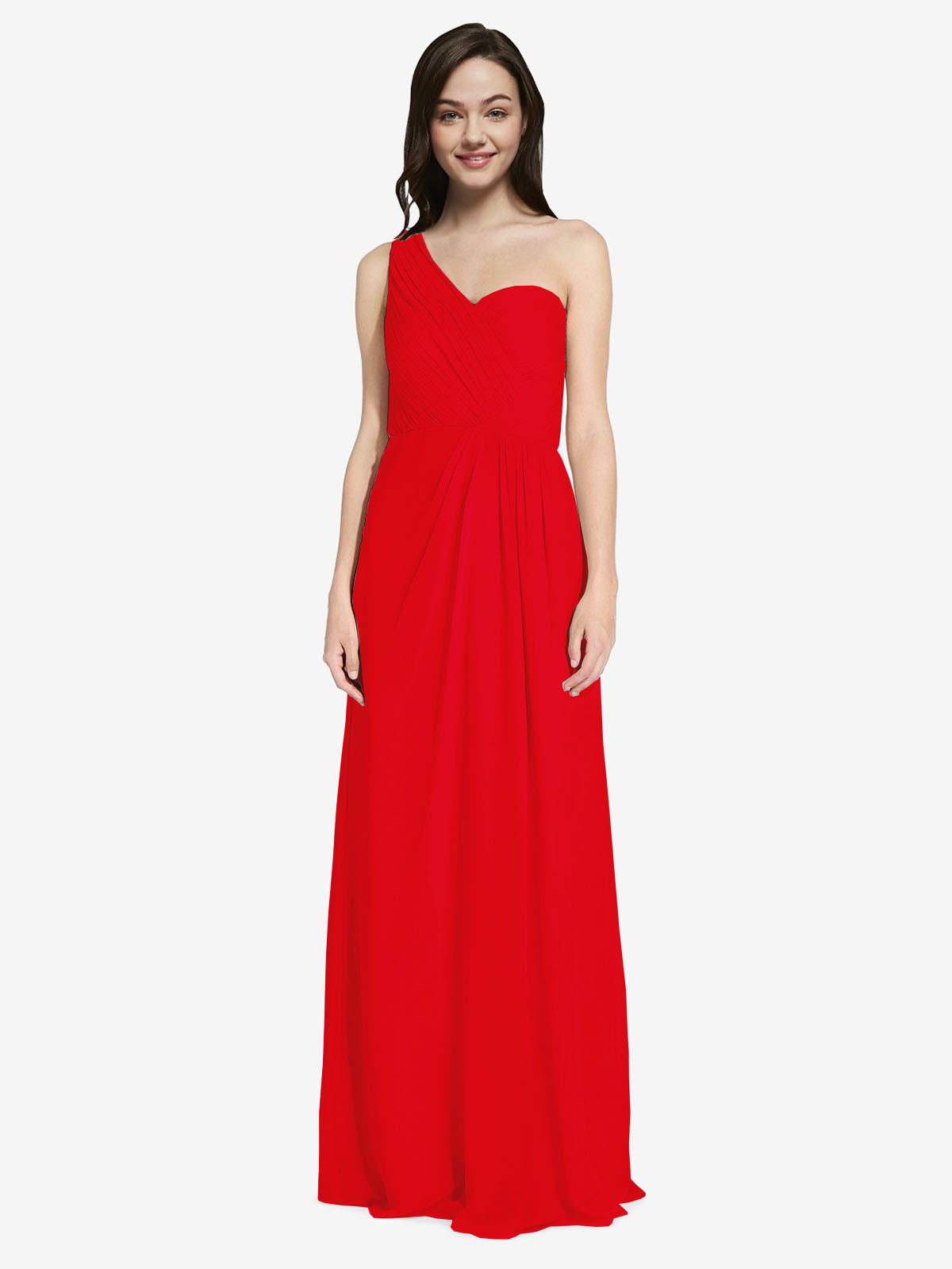 Long A-Line One Shoulder Sweetheart Sleeveless Red Chiffon Bridesmaid Dress Ida