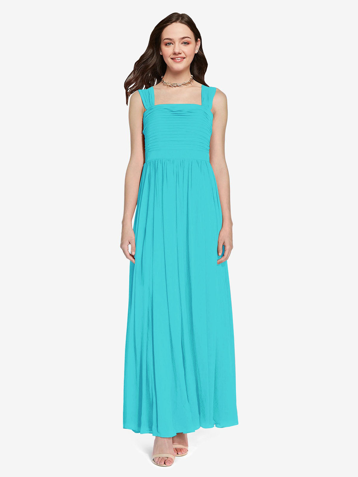 Long A-Line Square Sleeveless Aqua Chiffon Bridesmaid Dress Aldridge