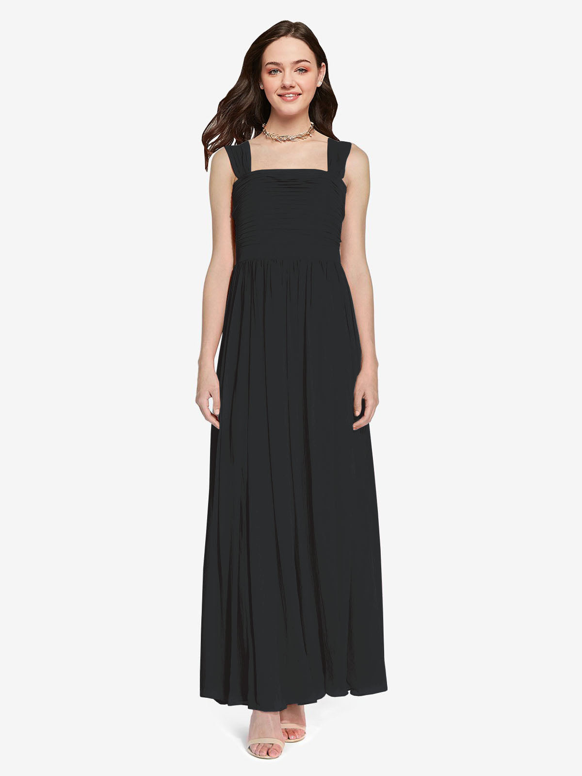 Long A-Line Square Sleeveless Black Chiffon Bridesmaid Dress Aldridge