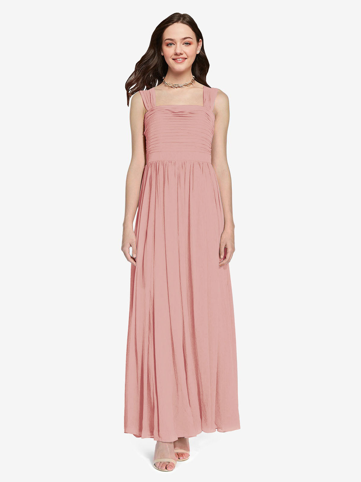 Long A-Line Square Sleeveless Bliss Chiffon Bridesmaid Dress Aldridge
