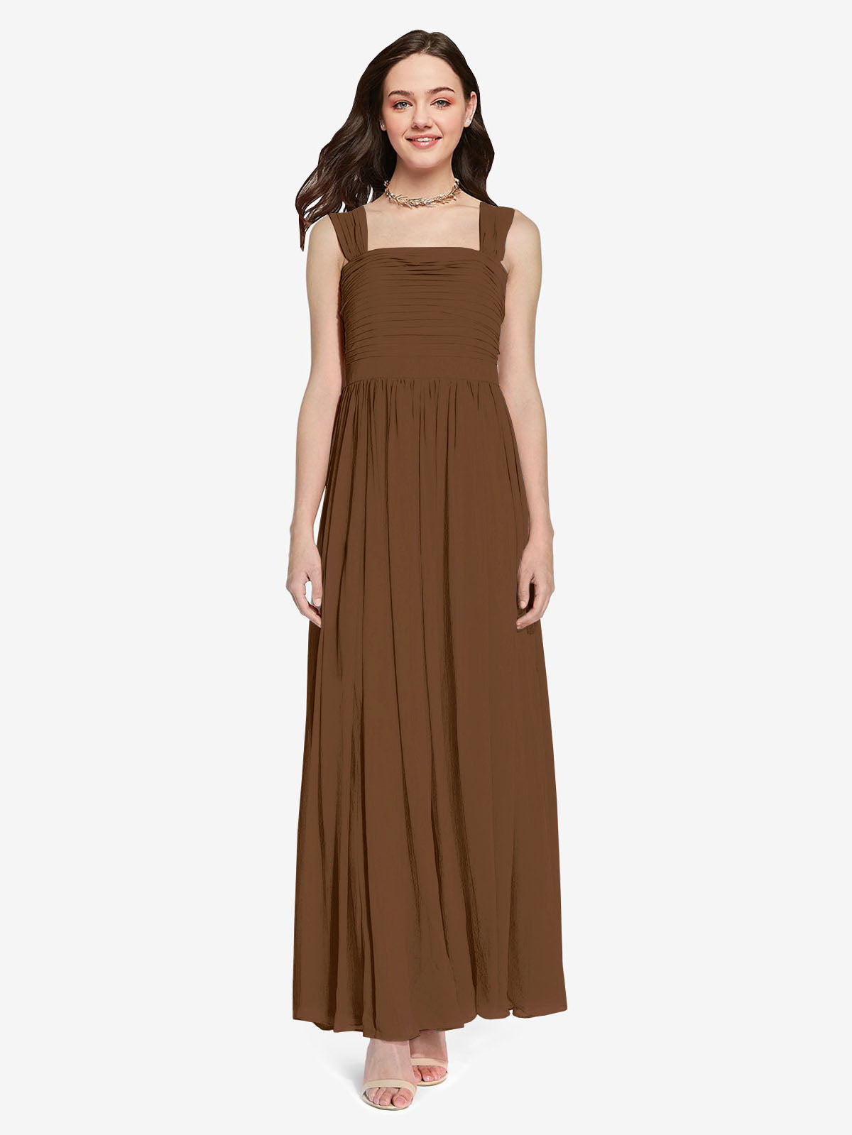 Long A-Line Square Sleeveless Brown Chiffon Bridesmaid Dress Aldridge