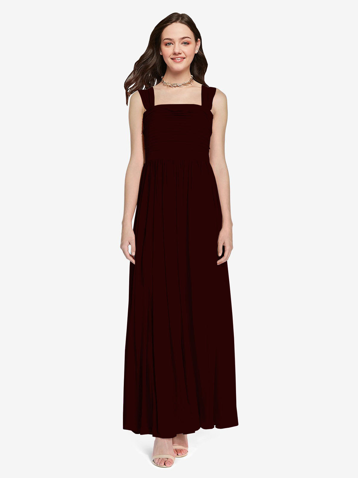 Long A-Line Square Sleeveless Burgundy Gold Chiffon Bridesmaid Dress Aldridge