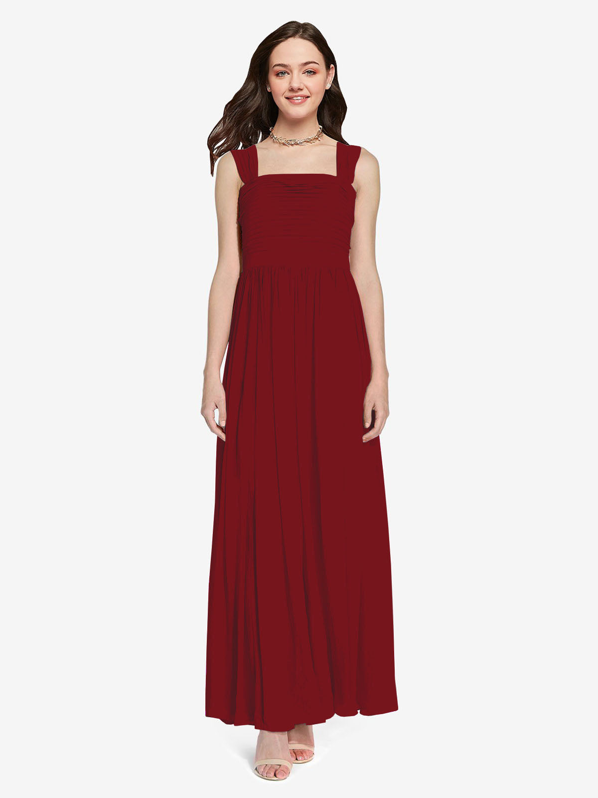 Long A-Line Square Sleeveless Burgundy Chiffon Bridesmaid Dress Aldridge