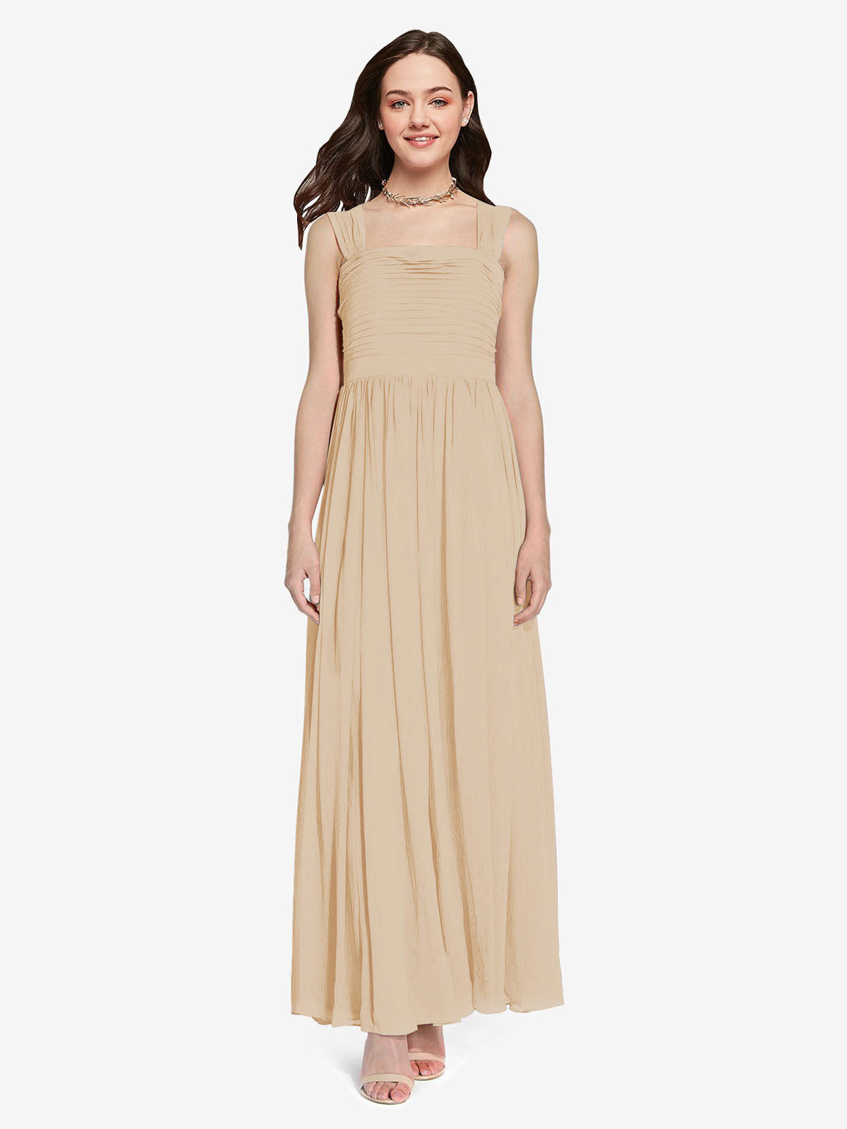 Long A-Line Square Sleeveless Champagne Chiffon Bridesmaid Dress Aldridge