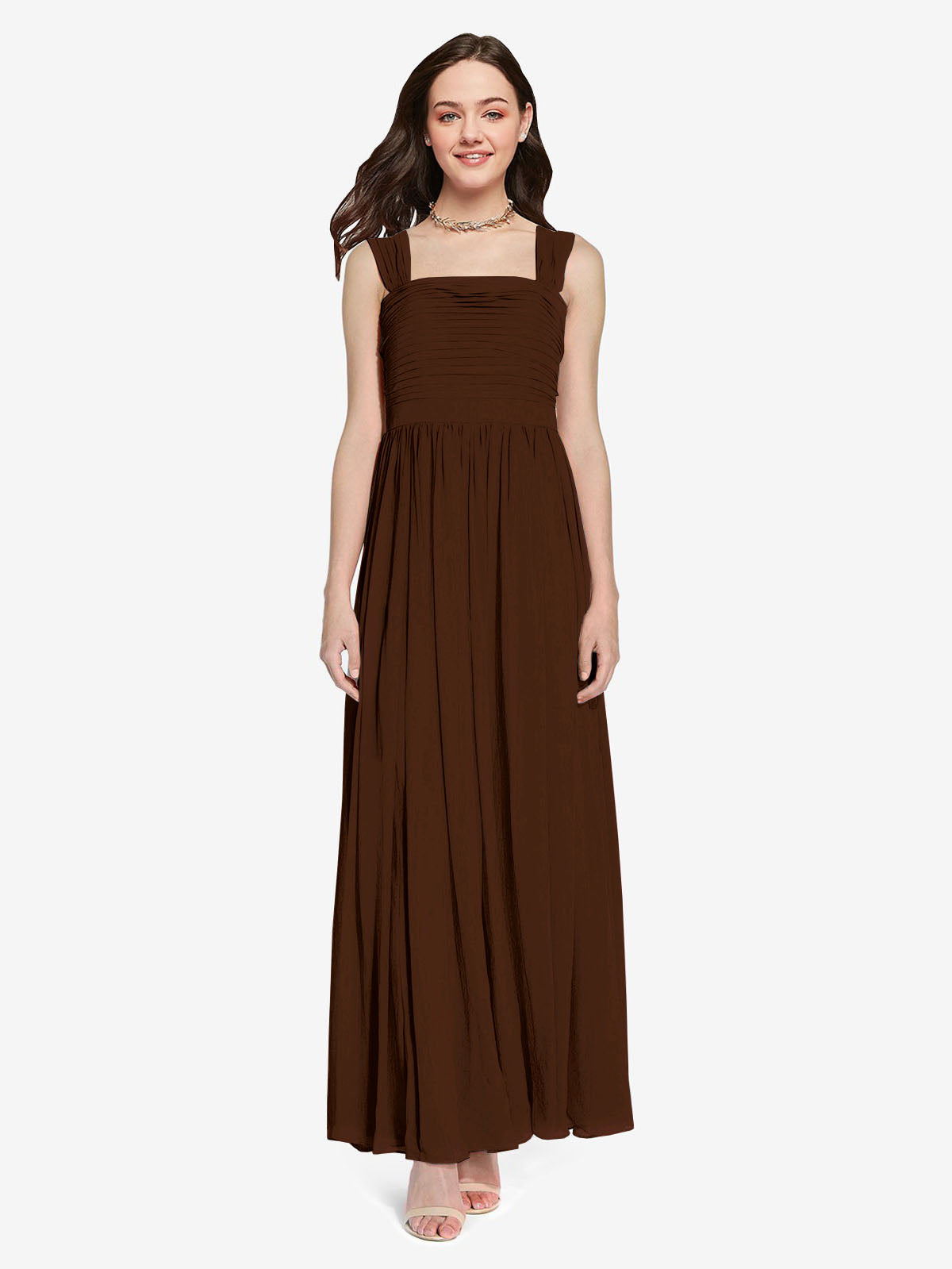 Long A-Line Square Sleeveless Chocolate Chiffon Bridesmaid Dress Aldridge