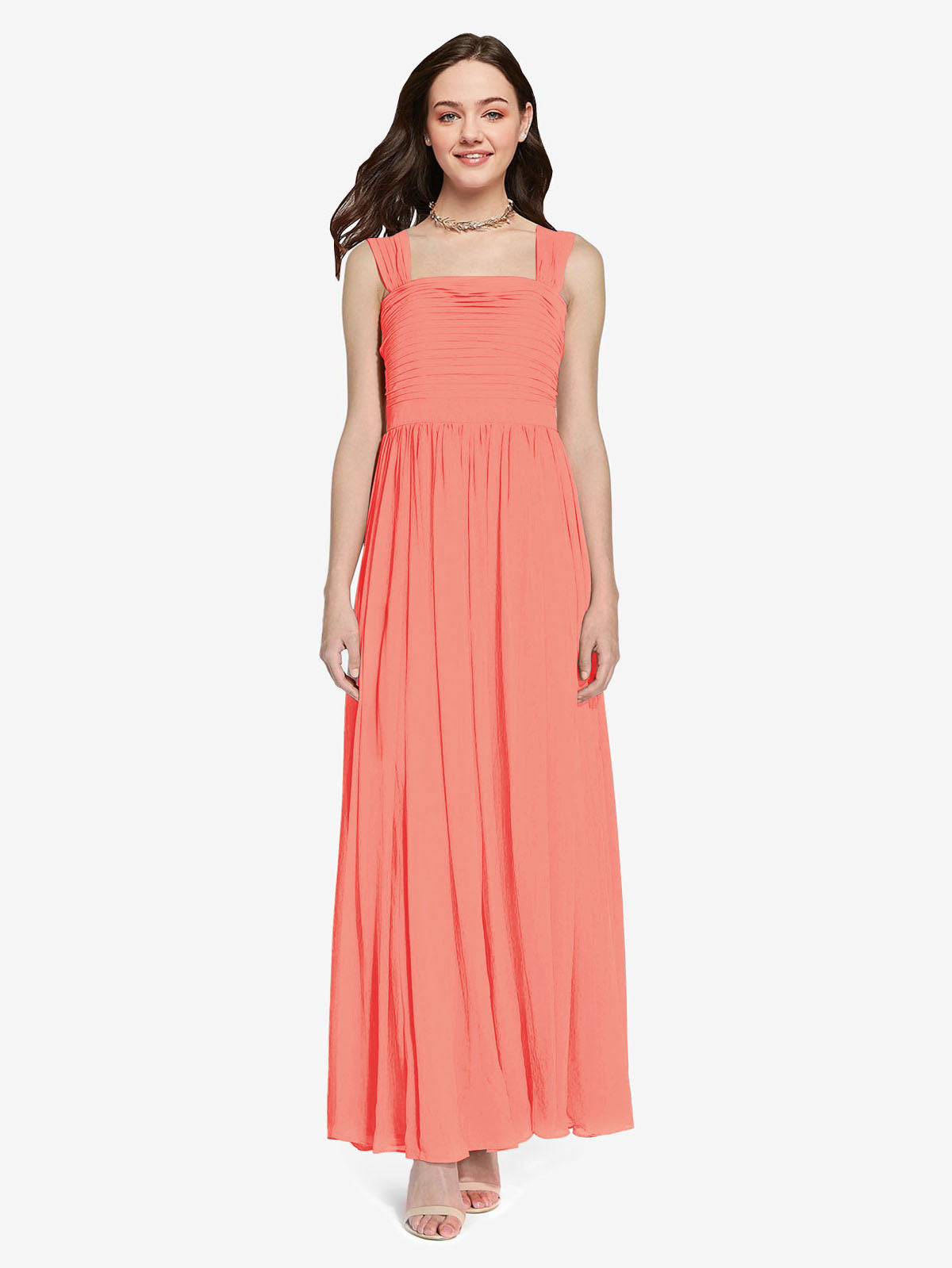 Long A-Line Square Sleeveless Coral Chiffon Bridesmaid Dress Aldridge