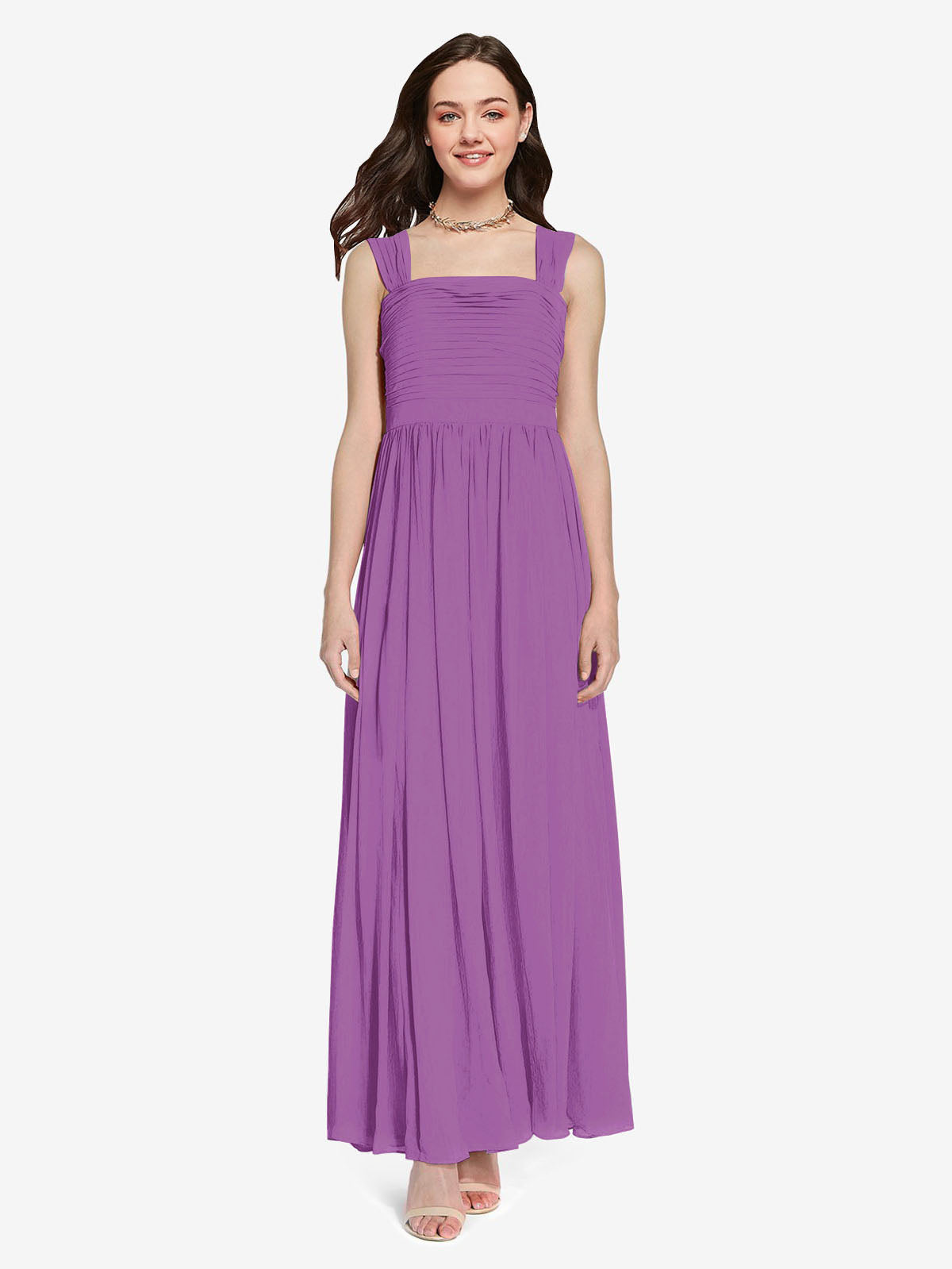 Long A-Line Square Sleeveless Dahlia Chiffon Bridesmaid Dress Aldridge